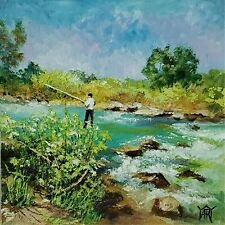 YARY DLUHOS ORIGINAL OIL PAINTING Fisherman Angler River Stream Trout Fishing