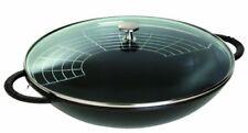 Staub Sartén wok con tapa de cristal 37 cm negro Woks cocinar utensilios