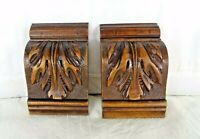 "Pair of French Antique Corbels-Pillars-Brackets in Walnut Wood -  Salvage  4"" T"