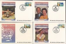 (91925) Turks & Caicos FDC x4 Queen Happy & Glorious 40 Years - 6 Feb 1992