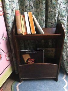 Small vintage retro wood book case library caddy portable bookshelf