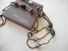 "Silpada 60"" Sterling Silver Howlite Jasper Wood Shell Copper Necklace N1569 Long"