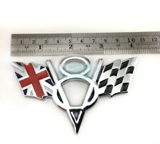 Silver V8 England Britain Flag Chrome Metal Trunk Emblem Badge Jaguar Land Rover