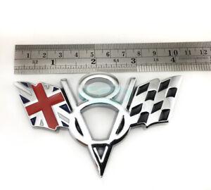 Silver V8 England Britain Flag Chrome Metal Trunk Emblem Badge Jaguar Land Rover