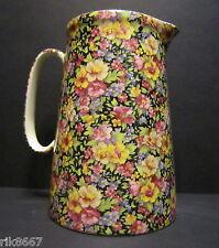 Heron Cross Pottery SUMMER MEADOW (black B/G) 4 Pint Milk Jug very big (vase)