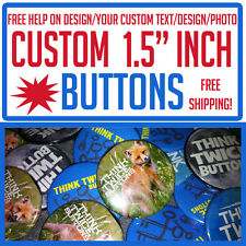 "50 Custom 1.5"" inch Buttons Badges Pins Punk Indie Bands Rock Pinback"