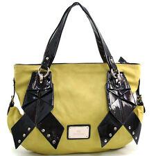 Anais Gvani Women's Large Two-Tone Tote Bag w/ Ribbon-like & Stud Accents-Yellow