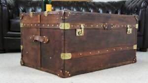 Handmade English Tan Leather Coffee Chest Coffee Table Trunk Box TE