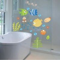 Cartoon Fish Bathroom Decor Wall Sticker Room Decal Art Kids Room FREE SHIPPING