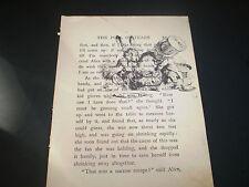 1922 ORIGINAL ALICE IN WONDERLAND BOOK PAGE WITH VINTAGE ART WORK OF ALICE