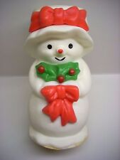 "Vintage Avon Mrs. Snowlight Christmas Candle Holder Collectible And Cute ""Used"""