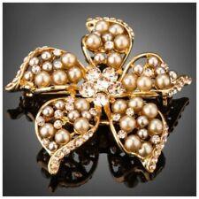 roségoldfarben Prächtige Brosche mit Biene mit weißer Perle und Kristallen