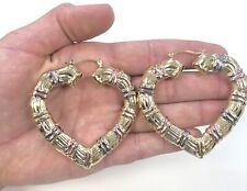 18K GOLD FILLED 60MM, BAMBOO DOOR KNOCKER HOOP EARRINGS, WOMEN'S JEWELRY, NEW
