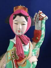 "Vintage Ceramic Japanese Doll Geisha Hakata Ningyo Handpainted Figurine 13.5"""