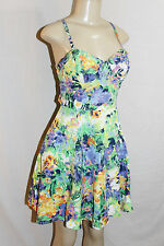 Green floral JESSICA SIMPSON bustier cutout dress summer beach party M