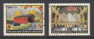 US Sc 4738-4739 used. 2013 $5.60 Bridge, $19.95 Grand Central Terminal, XF