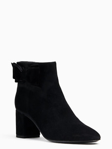 KATE SPADE  Black Suede Ankle Holly Boots New 8.5 2.5inch heels Zip UP w Bow