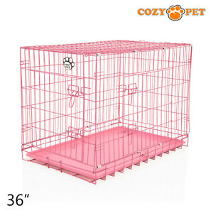 Dog Cage 36 inch Puppy Crate L Cozy Pet Pink Dog Crates Folding Metal Cages