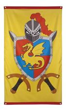 5ft x 3ft Knight & Dragons Flag Medieval Fancy Dress Pary Banner Deocration