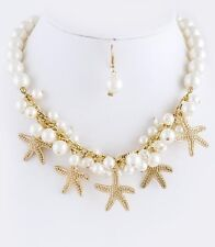 D27 Textured Metal Starfish Faux Pearl Charm Necklace Earring Set Boutique
