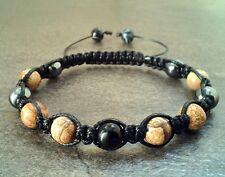 Men's stone shamballa bracelet Onyx Jasper Hematite wristband cuff  jewelry gift