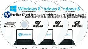 HP Pavilion 17-e086nr Factory Recovery Media 3-Discs Set / Windows 8 64bit