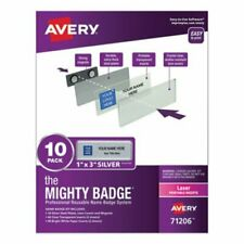 Avery The Mighty Badge 1 X 3 Laser Silver 10 Holders 80 Inserts Ave71206