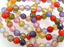 """6"""" CUBIC ZIRCONIA 6mm Faceted Round Beads/Bracelet"""