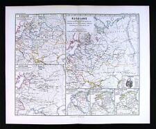 1880 Spruner Historical Map of Russia 1240-1480 Moscow Kiev Nowgorod Black Sea