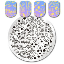Round Nail Stamping Plate Makeup Lipstick Star Manicure Nail Image Plate Stencil