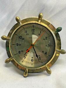 Vtg Brass? Ships Clock Quartz Beveled Crystal Maritime Nautical Boat Decor