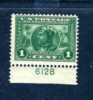 US  #397 MNH OG 1913 Green, PERF 12, 'BALBOA' Issue Plate Number Single [PNS]