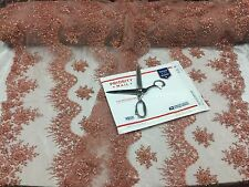 Fantastic Peach Pearl Design Embroidery And Heavy Beaded On A Mesh Lace-by Yard