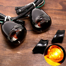 Gloss Black Bullet Turn Signals&Short Bracket For Harley Dyna Softail Fatboy