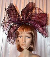 Handmade Derby, Party, Halloween Fascinator / Deco Mesh Bow in Hot Pink & Black