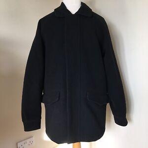 Gant USA Ivy League Long Wool Jacket Small Mens Black Short Coat Quilt Lined