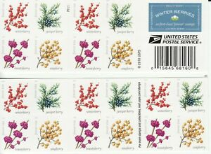 WINTER BERRIES STAMP BOOKLET -- USA #5415-#5418b FOREVER 2019