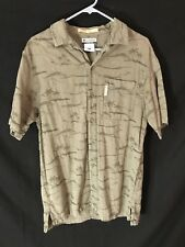 Columbia River Lodge L Short Sleeve Button Casual Shirt Fish Design Fishing
