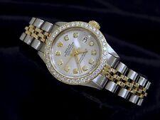 Rolex Datejust Damen 14K Gelbgold & Stahl Armbanduhr Silber Diamant Zifferblatt