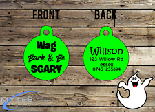 "Halloween Dog ID Collar Tag Wag Bark & Be Scary"" - Double Sided Pet Charm Tag"