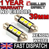2x WHITE 39MM 3 SMD 239 272 C5W CANBUS FESTOON LED LAMP WHITE LIGHT BULBS 12V