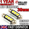 39mm 264 C5W SV8.5 6000k BRIGHT WHITE 3 SMD LED FESTOON LIGHT BULB NO ERROR FREE