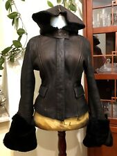 Gucci Women's Lamb Leather Shearling Coat Jacket Black Made in Italy, Zipper, M