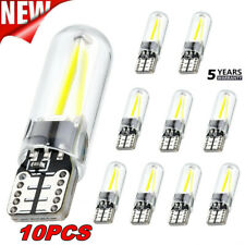 10x White T10 194 168 W5W COB LED CANBUS Silica Bright Glass License Light Bulb+
