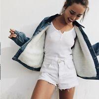 New! Brandy Melville light wash blue denim sherpa Shaine denim jacket NWT sz S/M