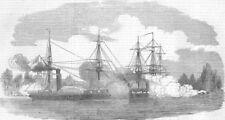 FINLAND. 1st shot, Baltic. Ships, antique print, 1854