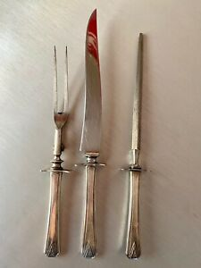 Community Silver Plate Art Deco Deauville 3 piece large Carving Set RARE