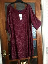BNWT NEXT Deep WINE BERRY Floral PETAL Print Side Tie Stretch LOOSE FIT Dress 20