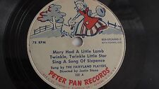 Fairyland Players - 78rpm Kiddie record 7-inch – Peter Pan #102 Mary Had A ....