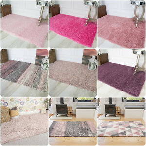 Thick Soft Plain Pink Blush Shaggy Rug Large Bedroom Shag Pile Living Room Rugs